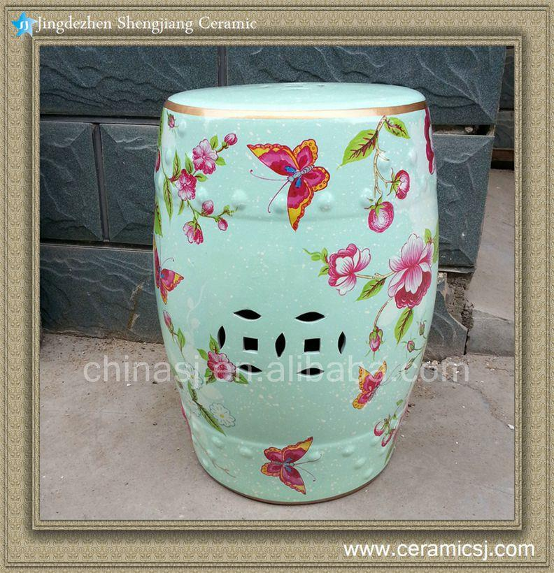 Ryzs02 18 Outdoor Cushions Ceramic Floral Butterfly Stool