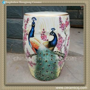 "RYZS06 18"" Patio outdoor Ceramic Stool PEACOCK"