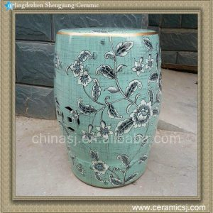 "RYZS07 18"" Outdoor patio Ceramic Blue Floral Stool"