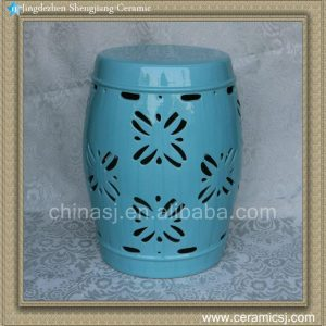 "RYZS15 18"" Blue carved floral Bar stool"