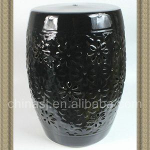 "RYZS16 17"" Black Floral carved Ceramic Drum Stool"
