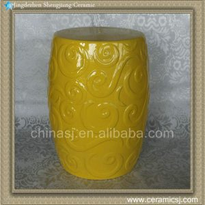 RYZS18 Round Ceramic Yellow Stool