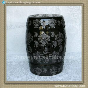 "RYZS43 18"" Porcelain chinese garden stool Carved floral"