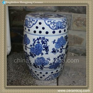 RYZS50 Ceramic Drum Stool Blue and White Hand painted floral