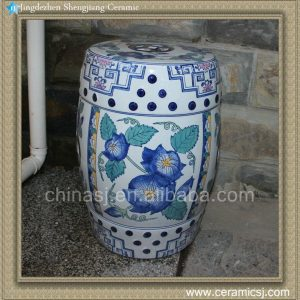 RYZS51 Blue and White Ceramic Stool Hand paint floral, antique chair stool and ottoman