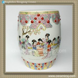"""RZAD01 H17.3"""" Jingdezhen hand painted Famille rose lady playing floral design Porcelain Garden Stool"""