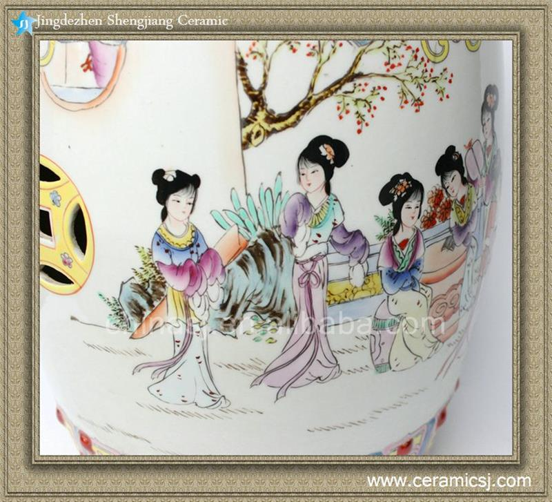 Rzad01 H17 3 Jingdezhen Hand Painted Famille Rose Lady