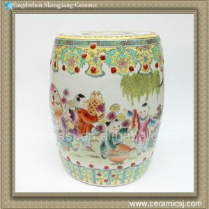 "RZAE02 H15.7"" FAMELLE ROSE HAND PAINTED CHINESE CHILDREN FLORAL PORCELAIN GARDEN SEAT STOOL"