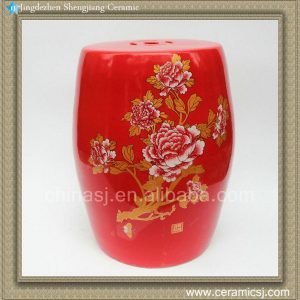 "RZAF01 H15.3"" Chinese Red floral Garden Stool"