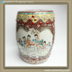 """RZAH02 17""""FAMILLE ROSE CHINESE PORCELAIN GARDEN SEAT STOOL PAINTED LADY PHOENIX FLORAL"""