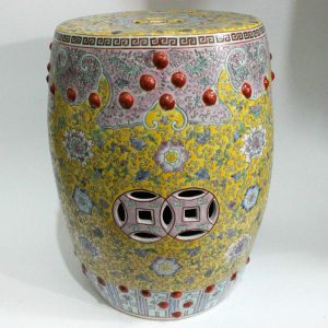 "RZAI04 H17.3"" Hand painted famille rose yellow pink floral Porcelain Garden Stool"