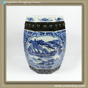 "RZAJ01 H17.3"" Blue and White hand painted village floral boat Ceramic Garden Stool"