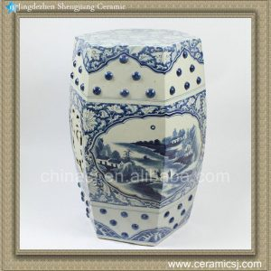 "RZAJ03 H19.6"" Blue and White Ceramic Garden Stool, hand painted floral landscape"