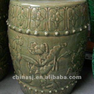 handmade Chinese tawny ceramic Garden Stool with antique design WRYTM01