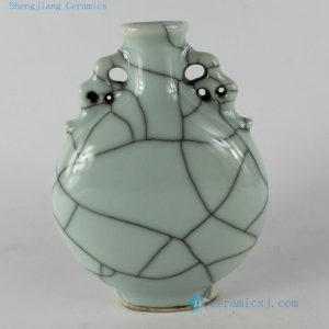 "RYKC18 H6.5"" Crackle Porcelain Vase with handle"