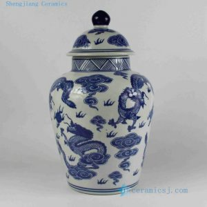 "RYPU17 H14"" wholesale jars Blue and white Dragon Ginger Jar"