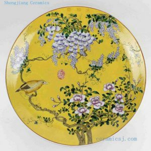 "RYRK13 D20"" Yellow floral bird Chinese decor Plate"