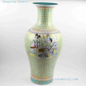 "RYRK15 H26.7"" Antique Chinese porcelain floor vase beauty design"