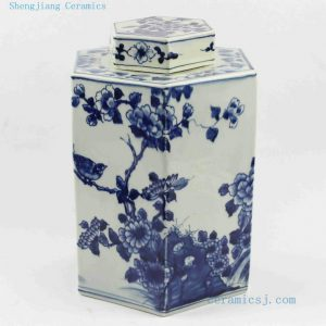 "RYUK13 H11.4"" wholesale jars hand painted Blue white flower bird Hexagon Jar"