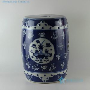 "RYLU15 H17.5"" wholesale hand painted eight treasure design white and blue Ceramic Seat"