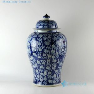"RYLU19 H17.5"" wholesale hand painted white and blue floral fruit vintage Porcelain Ginger Jars"