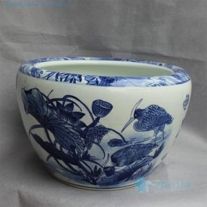 "RYYY13 D16"" Blue and white ceramic planter water lily and bird design"