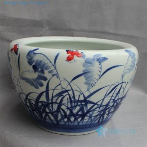 "RYYY14 D16"" Blue and white ceramic planter grass design"