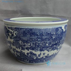"RYYY15 D16"" Blue and white ceramic planter Chinese cityscapes"
