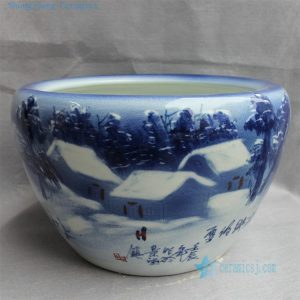 "RYYY16 D16"" Hand painted Blue and white ceramic planter winter scenery"