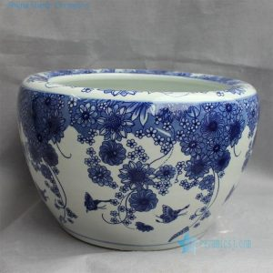 RYYY18 Blue and white ceramic flower planter floral design