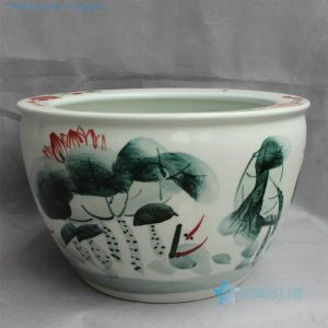 RYYY19 Hand painted ceramic flower planter floral fish design