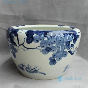 "RYYY20 16"" Hand painted ceramic flower planter blue and white grape"