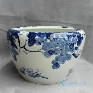 "RYYY20 16"" Hand painted ceramic flower planter blue and white grape"