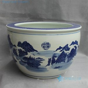 "RYYY22 D16.5"" Jingdezhen Blue white ceramic flower pot landscape"