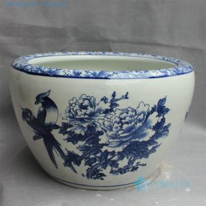 "RYYY23 D16.5"" Jingdezhen Blue white ceramic flower bird Bowl"