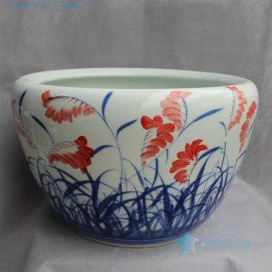 "RYYY25 D20.5"" Jingdezhen Hand painted ceramic Bowl grass design"