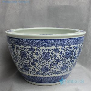 "RYYY27 D21.5"" Classic Jingdezhen blue and white floral Ceramic Planter"