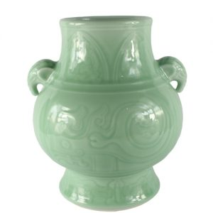 "RYKX18 H10"" Celadon Porcelain Vase with handle from shengjiang company"