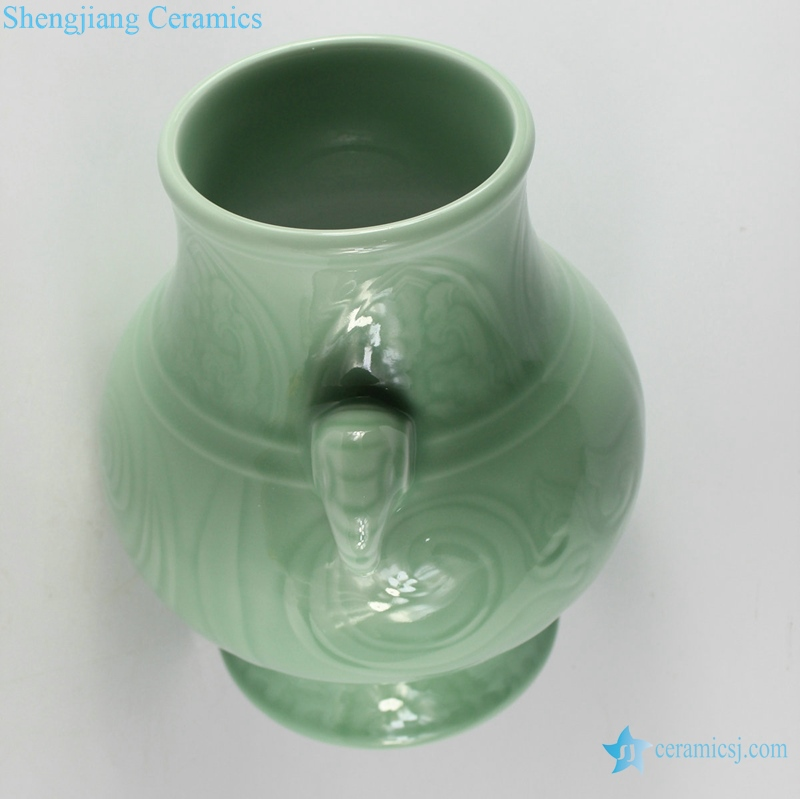 Shadow blue engraved bottle with ears shengjiang top view