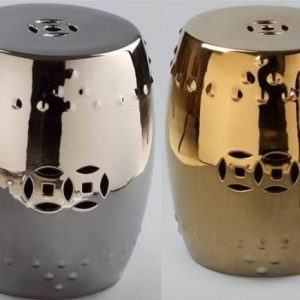 "RYLL27 H17"" Gold and silver Ceramic Garden Stool"