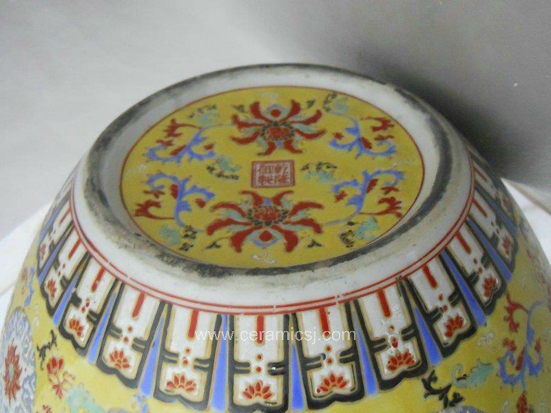 RYRK02 Qing Qianlong Dynasty yellow Famille rose Vase