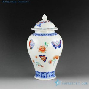 "14AS101 h10"" Jingdezhen Qing dynasty reproduction Porcelain Ginger Jar butterfly design"