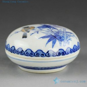 14AS110 Jingdezhen Qing dynasty reproduction Porcelain Inkpad hand painted floral bird design