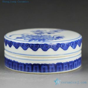 14AS126 Jingdezhen Qing dynasty reproduction Porcelain Inkpad hand painted chrysanthemum design