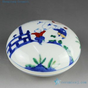 14AS128 Qing dynasty reproduction Jingdezhen Porcelain Inkpad box hand painted children design