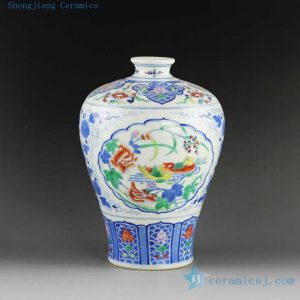 "14AS137 8.9"" Qing dynasty reproduction Jingdezhen Porcelain Vases hand painted bird design"