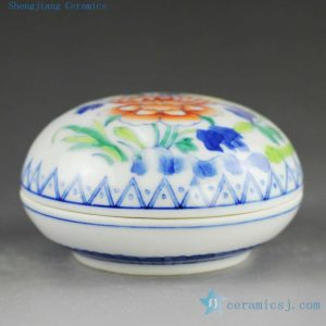 14AS138 Qing dynasty reproduction Jingdezhen Porcelain inkpad box hand painted floral design