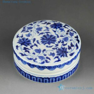 14AS140 Qing dynasty reproduction Jingdezhen blue and white floral Porcelain inkpad box