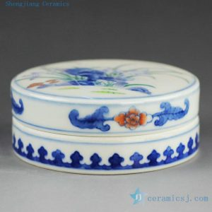 14AS141 Qing dynasty reproduction Jingdezhen blue and white floral Porcelain inkpad box