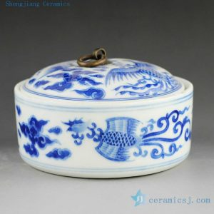 14AS142 Jingdezhen hand painted blue and white phoenix inkpad box